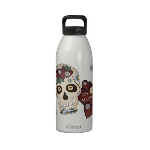 Sugar Skull Hearts and Blue Flowers Drinking Bottles