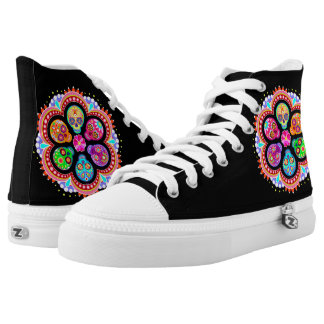 Sugar Skull Hi Top Shoes - Day of the Dead Shoes Printed Shoes