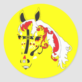 sugar skull horse classic round sticker