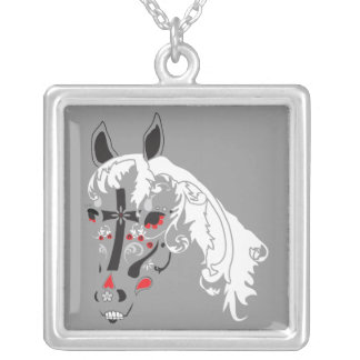 sugar skull horse necklace