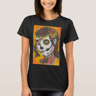 Sugar Skull Illustration by Vinny Faggella T-Shirt