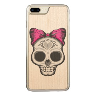 Halloween Themed Sugar Skull Illustration Carved iPhone 7 Plus Case