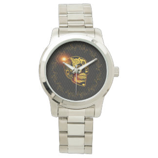 Sugar skull in gold and black wrist watch