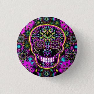 Sugar Skull in Neon Pink Button