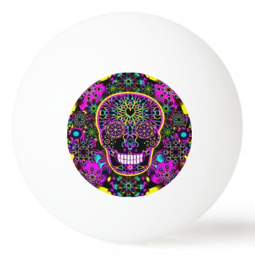 Valentines Themed Sugar Skull in Neon Pink Ping Pong Ball