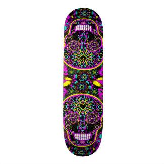 Sugar Skull in Neon Pink Skateboard