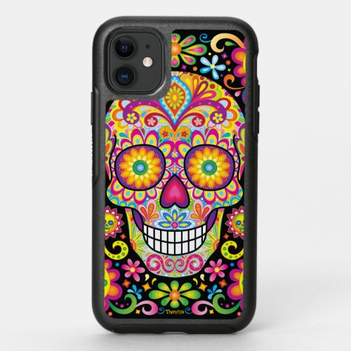 Sugar Skull iPhone 11 Case - Day of the Dead Art Phone Case