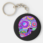 Sugar Skull Keychain - Colorful Art by Thaneeya
