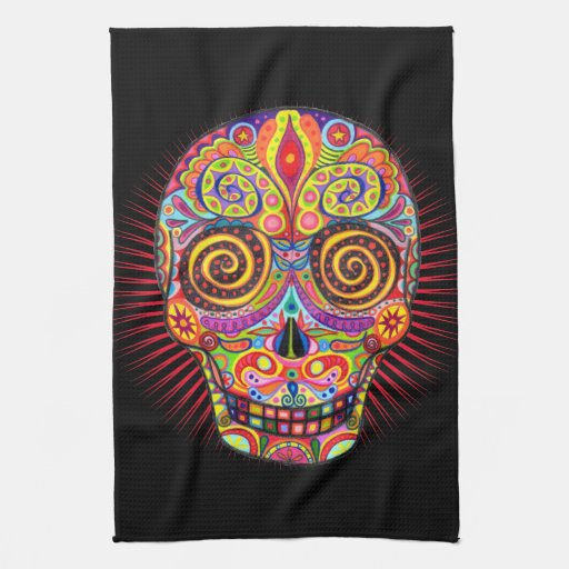 Sugar Skull Kitchen Towel Day of the Dead