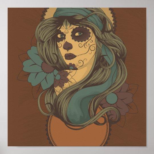 Sugar Skull Lady art Design Poster