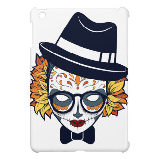 Sugar Skull Lady with hat and glasses Cover For The iPad Mini