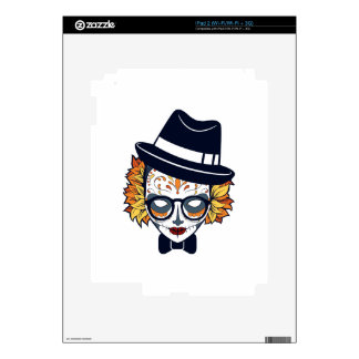 Sugar Skull Lady with hat and glasses Decal For iPad 2