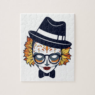 Sugar Skull Lady with hat and glasses Jigsaw Puzzle