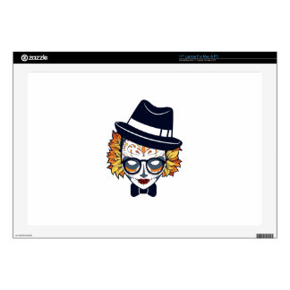 Sugar Skull Lady with hat and glasses Laptop Skin