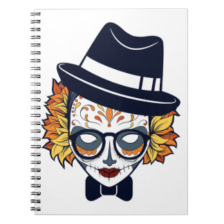 Sugar Skull Lady with hat and glasses Notebook
