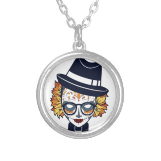 Sugar Skull Lady with hat and glasses Round Pendant Necklace