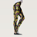 "Sugar Skull Leggings Day Of The Dead Yoga Pants<br><div class=""desc"">Leggings with Day of the Dead sugar skulls,  customize with your text,  or name if you like.</div>"