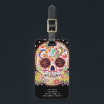 """Sugar Skull Luggage Tag - Customize it!<br><div class=""""desc"""">This Sugar Skull Luggage Tag features a colorful psychedelic calavera (sugar skull),  celebrating Mexico&#39;s Day of the Dead,  or Dia de los Muertos. The funky design for this Sugar Skull Luggage Tag is based on the artwork of Thaneeya McArdle.</div>"""