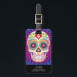 """Sugar Skull Luggage Tag - Customize it!<br><div class=""""desc"""">This Sugar Skull Luggage Tag features a colorful psychedelic sugar skull celebrating Mexico&#39;s Day of the Dead, or Dia de los Muertos. The funky design for this Sugar Skull Luggage Tag features the original artwork of Thaneeya McArdle. You can see more of her art at her website, www.thaneeya.com. Artwork &#169;Thaneeya...</div>"""