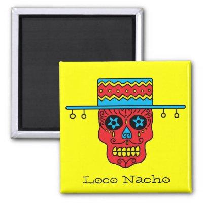 Sugar Skull Man in Hat Magnets