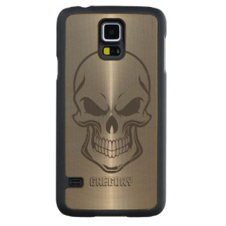 Sugar Skull Metallic Silver Stainless Steel Look Carved Maple Galaxy S5 Case