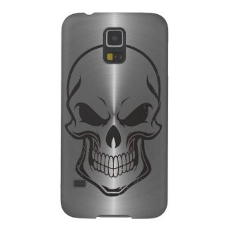 Sugar Skull Metallic Silver Stainless Steel Look Galaxy S5 Case