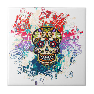 Sugar Skull, Mexico, Dias de los Muertos Ceramic Tiles