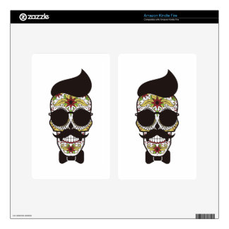 Sugar Skull modern cool design Decal For Kindle Fire
