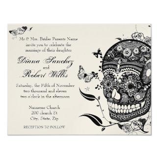 Sugar Skull Muertes on Gold Metallic Paper Card