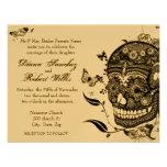 Sugar Skull Muertes on Gold Metallic Paper Personalized Invitation