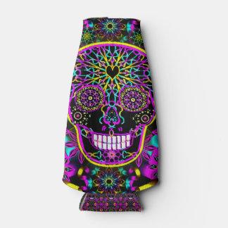 Sugar Skull Neon Pink Bottle Cooler