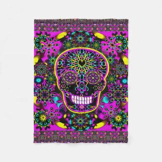 Sugar Skull Neon Pink Fleece Blanket