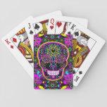 "Sugar Skull Neon Pink Playing Cards<br><div class=""desc"">A sugar skull in neon pink colors and a flower background.</div>"