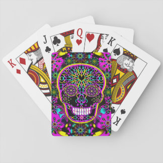 Sugar Skull Neon Pink Playing Cards