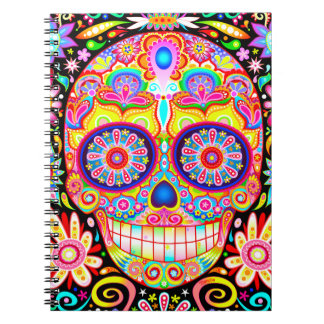 Sugar Skull Notebook - Colorful Psychedelic Art!