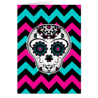 Sugar skull on chevron stripes pattern greeting card