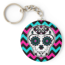 Sugar skull on chevron stripes pattern keychain