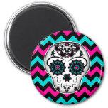 Sugar skull on chevron stripes pattern fridge magnet