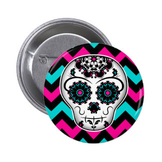 Sugar skull on chevron stripes pattern pinback button