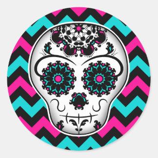 Sugar skull on chevron stripes pattern classic round sticker