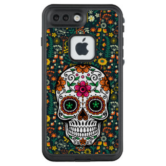 Sugar skull on Colorful Flowers Pattern LifeProof FRĒ iPhone 7 Plus Case
