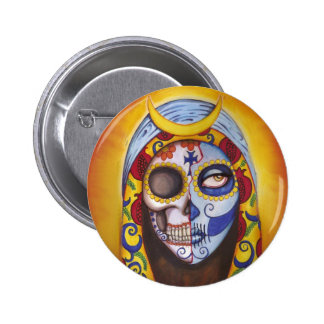 Sugar Skull Our Lady of Guadalupe button