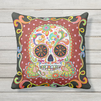 Sugar Skull Outdoor Pillow - Day of the Dead Art