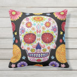 Sugar Skull Outdoor Pillow - Day Of The Dead Art at Zazzle