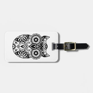Sugar Skull Owl Black & White Bag Tag