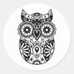Sugar Skull Owl Black & White Classic Round Sticker