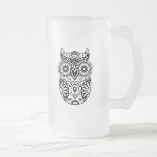 Sugar Skull Owl Black & White Frosted Glass Beer Mug