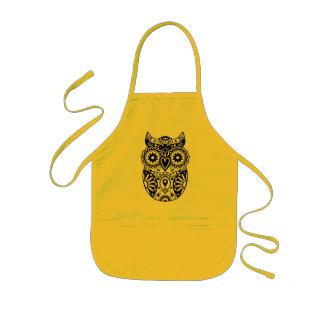 Sugar Skull Owl Black & White Kids' Apron