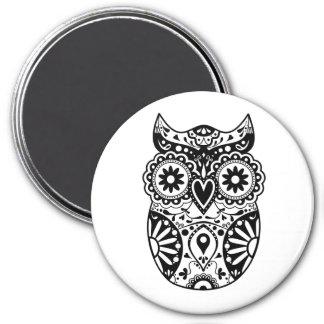 Sugar Skull Owl Black & White Magnet