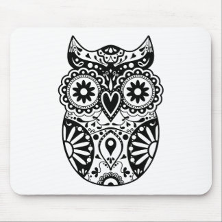 Sugar Skull Owl Black & White Mouse Pad